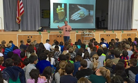 Giving a presentation on the Amazon to about 100-150 grade 4 and 5 school Kids in Atherton. Photo by George Ugras