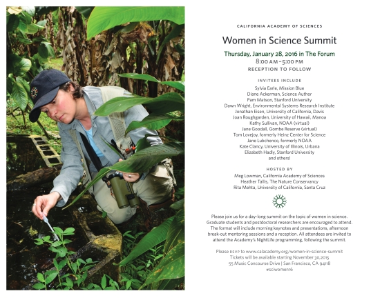 Poster Announcing Women in Science Summit (Courstey of CAS)